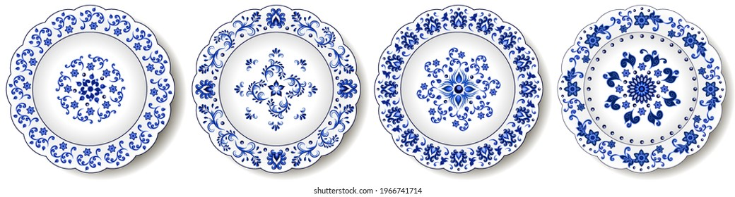 Porcelain plates, blue on white pattern in oriental asian style. Abstract floral ornament with Chinese and Indian design  motives. Decorative plate or dish.  isolated. Vector illustration