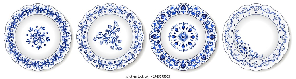 Porcelain plates, blue and white oriental ornament. Abstract floral pattern with traditional decorative elements. Chinoiserie design for ceramics. Isolated objects. Vector illustration
