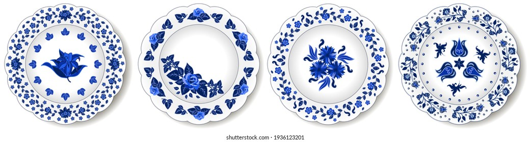 Porcelain plates ornate with  blue floral pattern. Traditional style decor, rose, tulipes, cornflowers, leaves. Oriental decor. Vector illustration, set of isolated objects