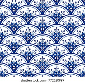 porcelain seamless pattern vector, Floral ornament on watercolor blue and white ceramic painting design, beautiful chinese background