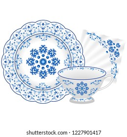 Porcelain tea party set. Tea cup, plate and napkin decorated in traditionsl Russian style Gzhel. Blue floral pattern. Vector illustration