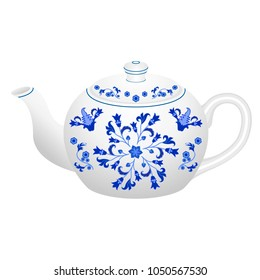 Porcelain teapot for tea set ornate in traditional Russian style Gzhel with oriental vintage pattern.  Isolated white teapot with blue floral ornament. Vector illustration.