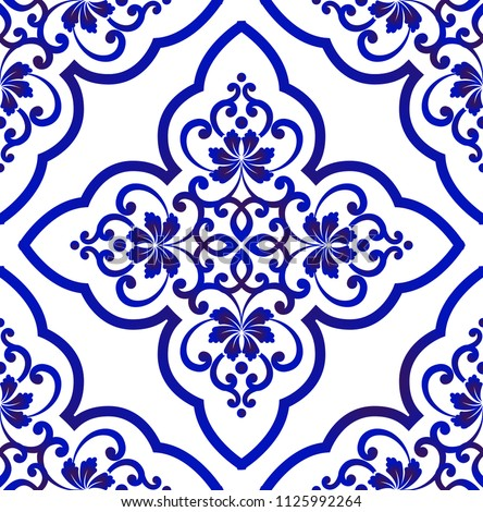 Porcelain wallpaper in baroque style, Islamic floral background, blue and white vases flower ornament