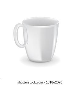 Porcelain white cup/mug isolated on white