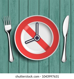 Porcelain white plate with knife, fork and clock face with arrow. Dieting and weight loss. Stock vector illustration.