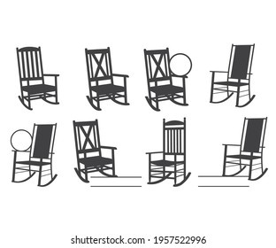 Porch Rocking Chair vector and Rocking Chair Monogram , Rocking Chair Silhouette