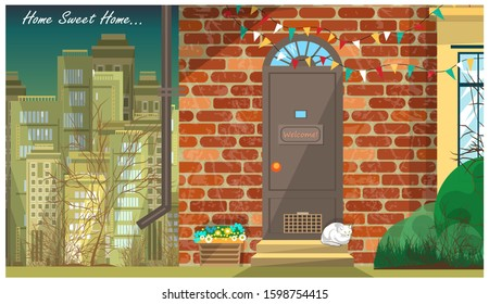 Porch of a small brick cottage with flowers and a white cat on the steps. Skyscrapers of the megalopolis are visible in the background. The inscription at the top right is Home, sweet home. Vector