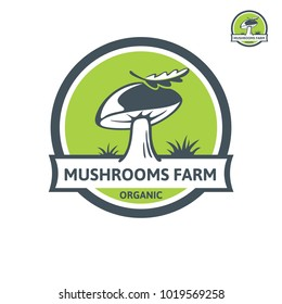 Porcini mushroom organic logo. Vector emblem design mushroom farm. Design element, icon, emblem and badge isolated on white background