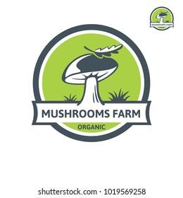 Porcini mushroom organic logo. Vector emblem design mushroom farm. Design element, icon, emblem and badge isolated on white background
