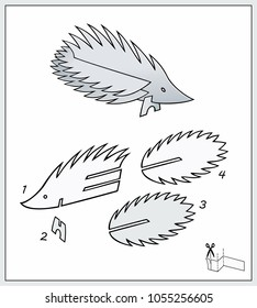Porcupine from pieces of paper. Complex form with blueprint template. Vector illustration