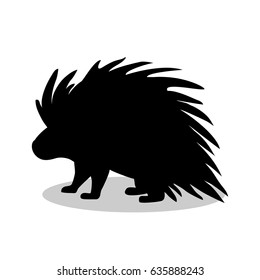 Porcupine rodent mammal black silhouette animal