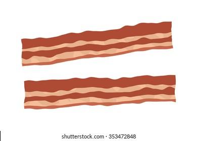 Pork bacon strips realistic flat vector illustration