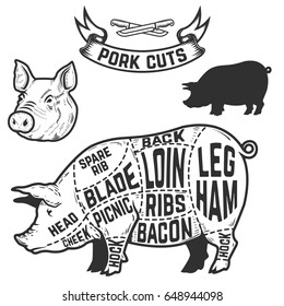Pork cuts butcher diagram. Design element for poster, menu. Vector illustration