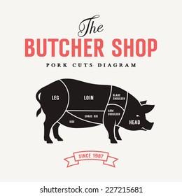 Pork cuts diagram, vector illustration for your design