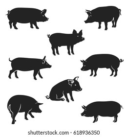 Pork icon. Vector Image, pig silhouette, in Curl Tail pose, isolated on white background.
