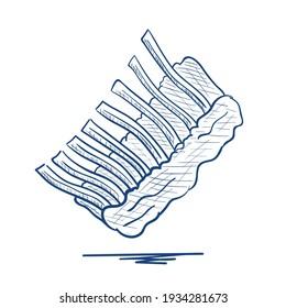 Pork ribs.Hand drawn vector illustration.