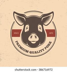 Pork round label with pig head in retro style