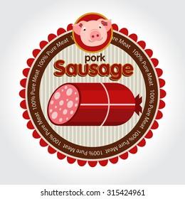 Pork sausage, vector, label, logo.