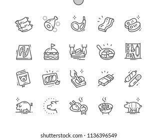 Pork Well-crafted Pixel Perfect Vector Thin Line Icons 30 2x Grid for Web Graphics and Apps. Simple Minimal Pictogram