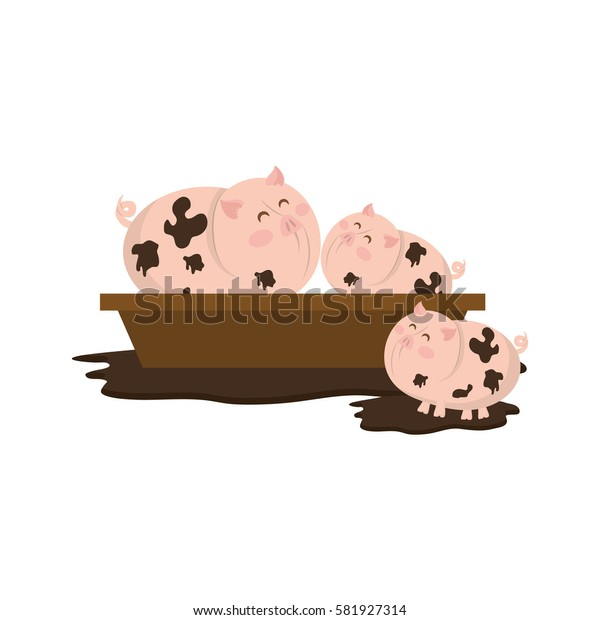 porks farm animal icon vector illustration graphic design