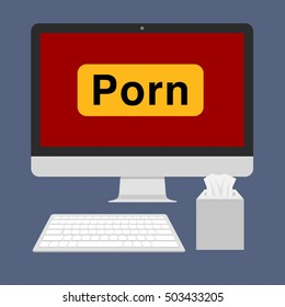 Porn sign on computer screen. Vector flat illustration. Isolated on white background