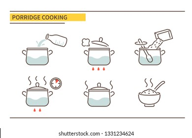 Porridge cooking directions. Steps how to cook. Vector illustration.