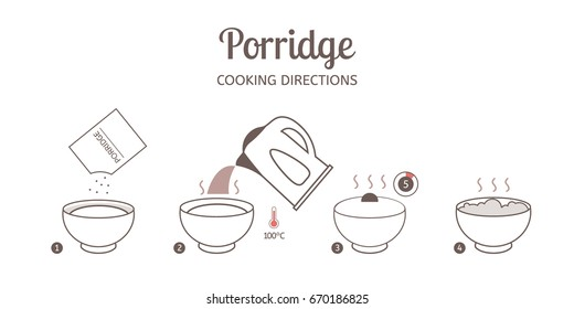 Porridge cooking directions. Steps how to prepare porridge. Vector illustration.