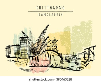 Port in Chittagong, Bangladesh, Asia.  Vintage hand drawn postcard in vector