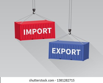 Port crane lift two cargo containers with import and export words from top view.