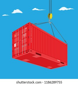 Port crane lifts red container. Perspective view from bottom. Logistics concept vector illustration.