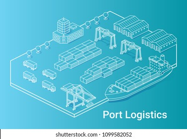 Port logistics illustration in linear isometric style on cyan background. Minimal art line. Concept with ship, containers, cranes and other buildings.