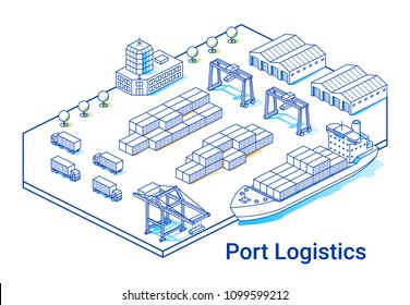 Port logistics illustration in linear isometric style. Minimal art line. Concept with ship, containers, cranes and other buildings.