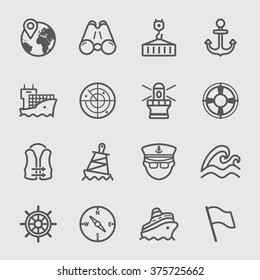 Port marine line icons