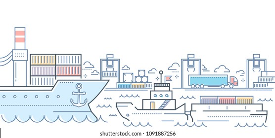 Port - modern line design style colorful illustration. Colorful composition with a harbor, ships and boats on water, shipping on the background. Travelling, transportation concept