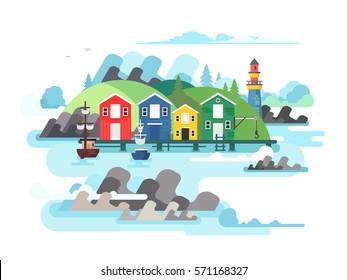 Port sea or ocean harbour