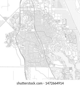 Port St. Lucie, Florida, USA, bright outlined vector map with bigger and minor roads and steets created for infographic backgrounds.