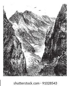 The Port of Venasque, vintage engraved illustration. Magasin Pittoresque 1875.