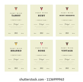 Port wine labels. Vector premium template set. Clean and modern design. Towny, Ruby, Reserve, Branco, Rose, Vintage. Red and White wine. National Portuguese Wine