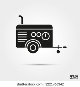 Portable air compressor glyph icon vector. Construction equipment symbol.