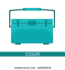 Portable cooler icon. Vector illustration of freezer in flat style isolated on white background. Picnic cryo cooler bag