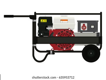 Portable electric generator. Side view. Flat vector.