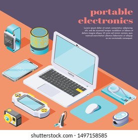 Portable electronics isometric background with  computer mouse flash drive laptop smartphone power bank fitness bracelet oximeter action camera icons located on table vector illustration