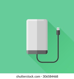 Portable extern hard drive disk flat style icon. Vector illustration.