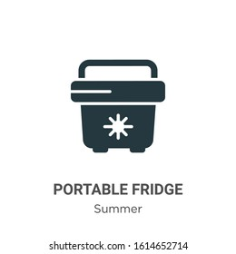 Portable fridge glyph icon vector on white background. Flat vector portable fridge icon symbol sign from modern summer collection for mobile concept and web apps design.