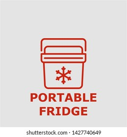 Portable fridge symbol. Outline portable fridge icon. Portable fridge vector illustration for graphic art.