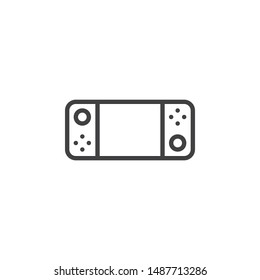 Portable game console line icon. linear style sign for mobile concept and web design. Gamepad with display and buttons outline vector icon. Symbol, logo illustration. Vector graphics