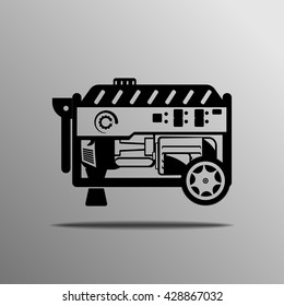 Portable Generator vector on the grey background