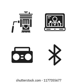 portable icon. 4 portable vector icons set. boombox, bluetooth and laptop icons for web and design about portable theme