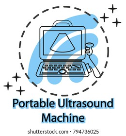 Portable laptop ultrasound machine with convex transducer. Medical diagnostic device with ultrasound probe. Sonography. Vector illustration made in modern line style. Ultrasound portable equipment.