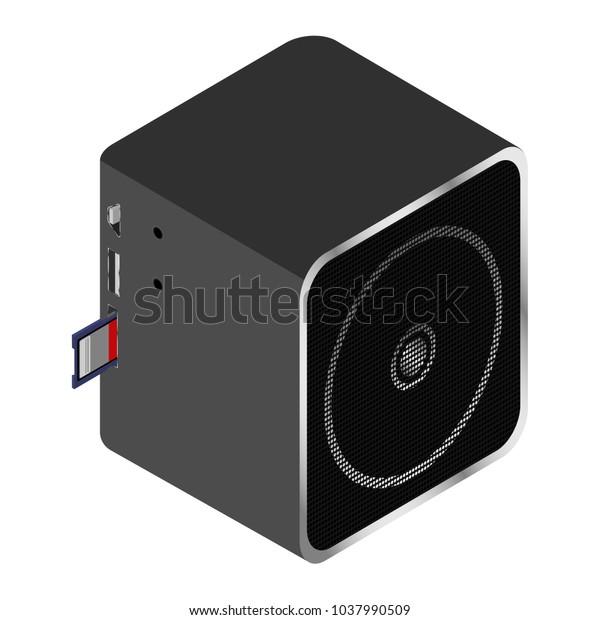 Portable Music Mono Column Player Usb Stock Vector (Royalty Free